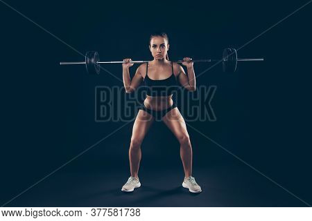 Full Length Photo Short Sport Suit Lady Heavy Barbell Shoulders Competition Serious Try Hard Isolate