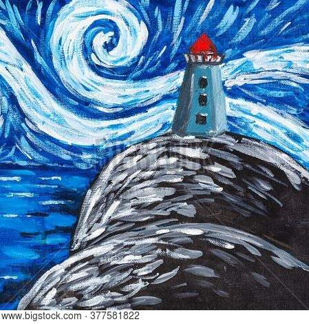 Night Landscape With Lighthouse On Cliff Hand Painted By Tempera On Textured Cardboard