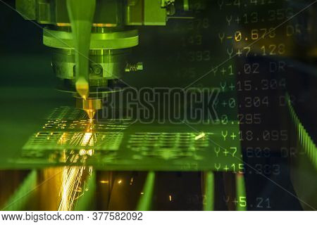The Abstract Scene Fiber Laser Cutting Machine Cutting And G-code Data Background. The Hi-technology