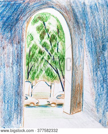Sketch Of Passage From Urban Yard To Street In City In Summer Hand-drawn By Color Pencils On White P