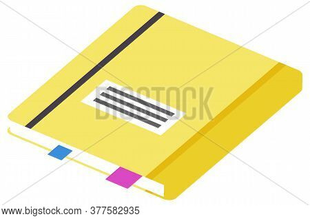 Hardback Dictionary With Colorful Bookmarks Isolated On White Background. Yellow Textbook Cover. Bac