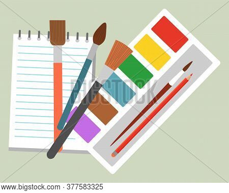 School Supplies For Children Vector Illustration. Stationery As Notebook And Pencil For Studying, Ta