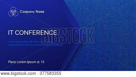Conference Vector Template. Abstract Dotted Blue Background For It Conference Invitation, Business M