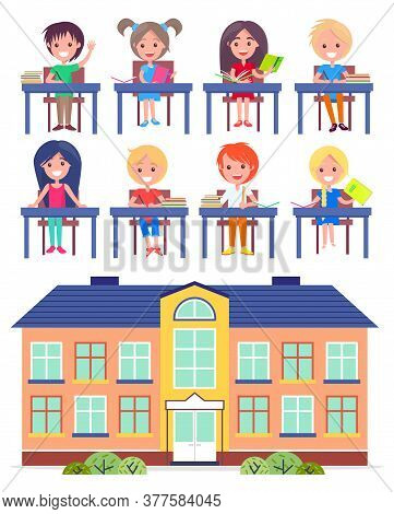 Illustration Of Cartoon Elementary School Building And A Set Of Students Elementary Grades. Students