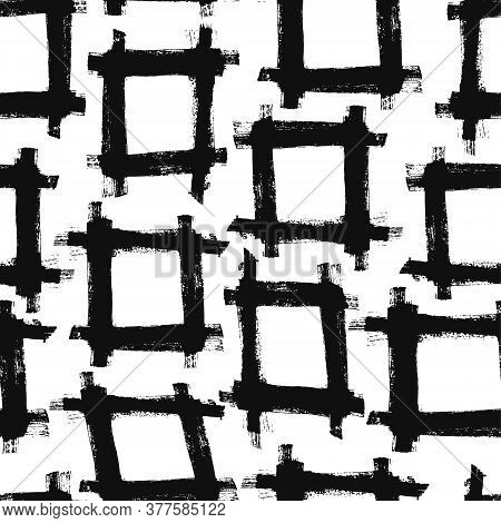 Abstract Grunge Seamless Pattern With Black Ink Hand Drawn Textured Squares Ornament. Contrast Trend