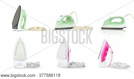 Set Of Steam Iron Isolated On White Background. Iron Housework Ironed Electric Tool Clean White Back