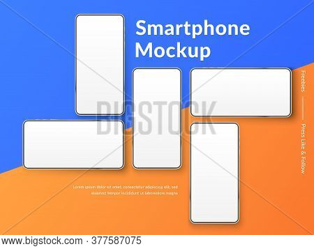 Realistic Smartphones Mockup. 3d Mobile Phones With Blank White Screen. Modern Cell Phones Template