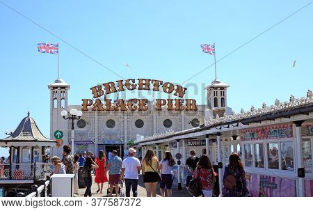 Brighton Pier, Uk, 2020.  The Pier In Brighton Is A Popular Toursit Attraction In The Summer, Due To