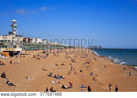 Brighton Beach, Uk, July 2020.  Brighton Beach On A Summer Day.  The Beach Is Normally Very Busy Wit