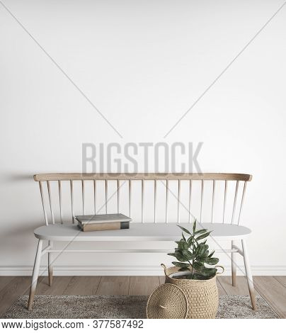 Wooden Furniture In Farmhouse Interior Style, 3d Illustration