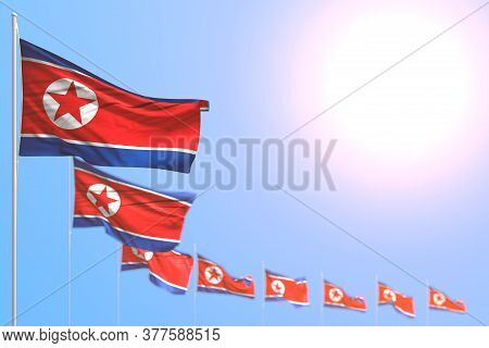 Beautiful Many North Korea Flags Placed Diagonal With Selective Focus And Empty Place For Your Text