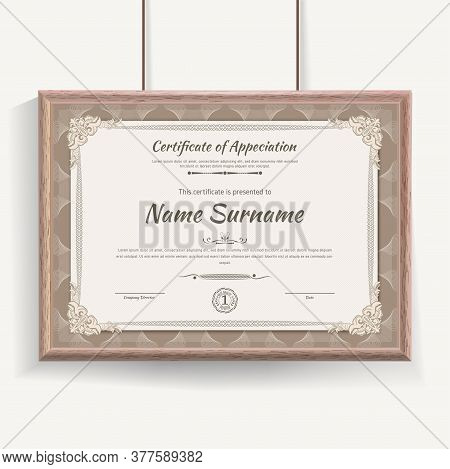 Official Beige Guilloche Border For Certificate. Vector Illustration. Certificate In Beige Wooden Fr