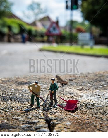 Road Works With Miniature Workers In Scotland