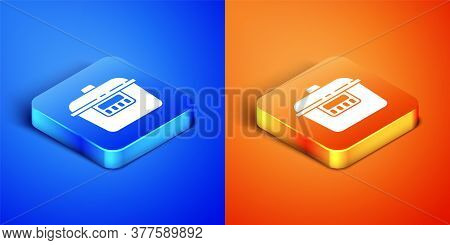Isometric Slow Cooker Icon Isolated On Blue And Orange Background. Electric Pan. Square Button. Vect