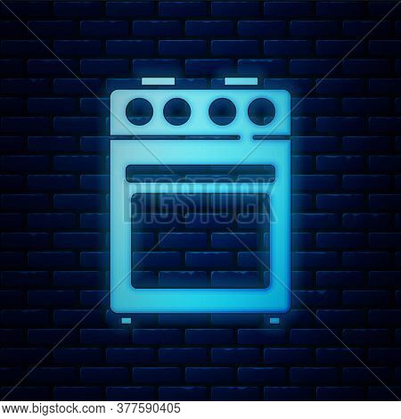 Glowing Neon Oven Icon Isolated On Brick Wall Background. Stove Gas Oven Sign. Vector