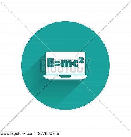 White Math System Of Equation Solution On Laptop Icon Isolated With Long Shadow. E Equals Mc Squared