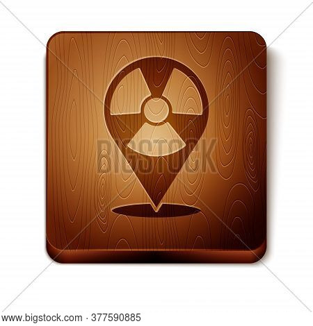 Brown Radioactive In Location Icon Isolated On White Background. Radioactive Toxic Symbol. Radiation
