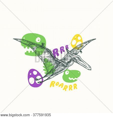 Prehistoric Dinosaur Abstract Sign, Symbol Or Card Template. Hand Drawn Flying Pterodactyl With Funn
