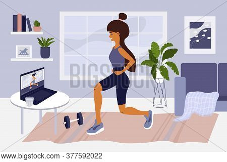 Online Sport Exercises Or Classes. Young Woman Watching Training Video On Laptop, Doing Workout. Hea