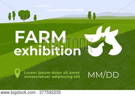 Design For Farming Exhibition. Banner For Farm Animals Business, Livestock Company, Conference Or  F