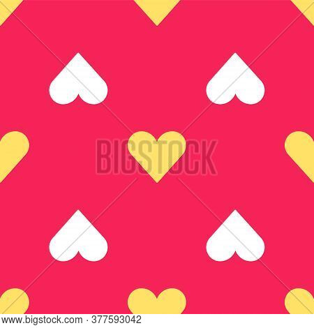 Yellow Heart Icon Isolated Seamless Pattern On Red Background. Romantic Symbol Linked, Join, Passion
