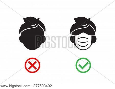 No Face Mask No Entry. Man In Wrong And Right Wear Mask Icon. Notice Safety, Coronavirus Precautions