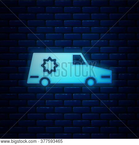 Glowing Neon Hearse Car Icon Isolated On Brick Wall Background. Vector