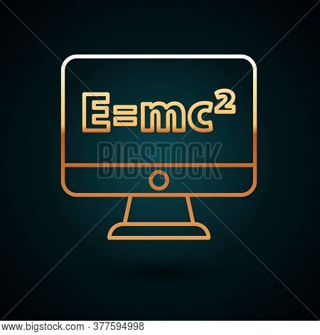 Gold Line Math System Of Equation Solution On Computer Monitor Icon Isolated On Dark Blue Background