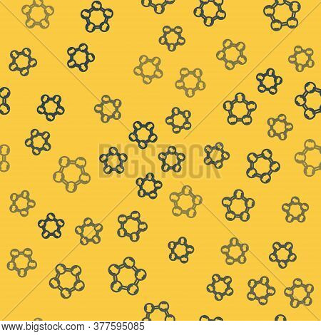 Blue Line Molecule Icon Isolated Seamless Pattern On Yellow Background. Structure Of Molecules In Ch