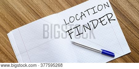 Blank Notebook And Pen. Isolated On White. Whith Text Location Finder