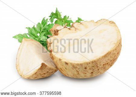 Fresh Celery Root Half And Slice Isolated On White Background
