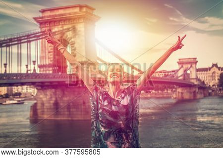 Successful Winner Urban Woman Arms Raised At Budapest, Hungary