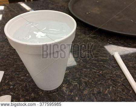 Styrofoam Cup Plastic Straw White On Black Restaurant Table