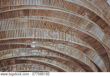 Structure Of Wooden Huts. Bamboo Hut. Bamboo Huts For Living. The Part Of The Roof Is Made Of Bamboo