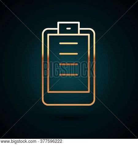 Gold Line Clipboard With Checklist Icon Isolated On Dark Blue Background. Control List Symbol. Surve