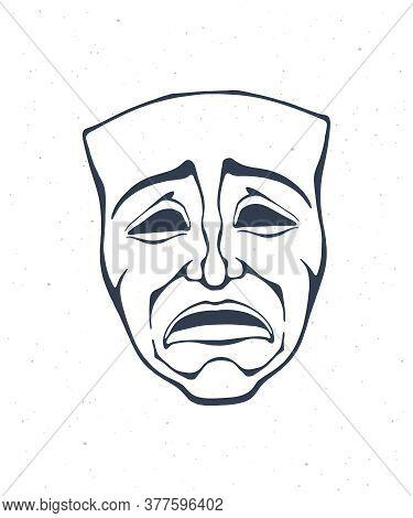 Outline Of Theatrical Drama Mask. Vintage Opera Mask For Tragedy Actor. Face Expresses Negative Emot