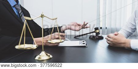 The Male Lawyer Is Providing Service To Consult Business Dispute To Businessman.