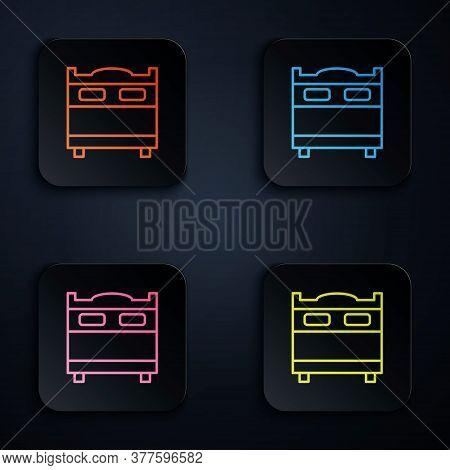 Color Neon Line Bedroom Icon Isolated On Black Background. Wedding, Love, Marriage Symbol. Bedroom C