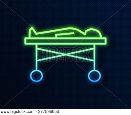 Glowing Neon Line Dead Body In The Morgue Icon Isolated On Blue Background. Vector