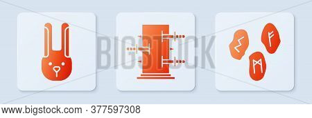 Set Trunk For Magic Tricks, Rabbit With Ears And Magic Runes. White Square Button. Vector