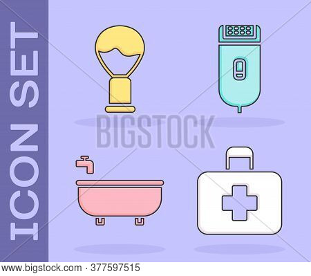 Set First Aid Kit, Shaving Brush, Bathtub And Electrical Hair Clipper Or Shaver Icon. Vector