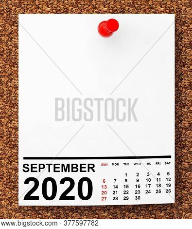 Calendar September 2020 On Blank Note Paper With Free Space For Your Text.3d Rendering