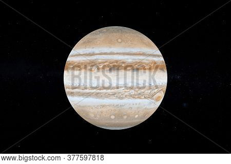 Solar System Concept. View Of Full Big Planet Jupiter From Space On A Black Sky Background. Elements