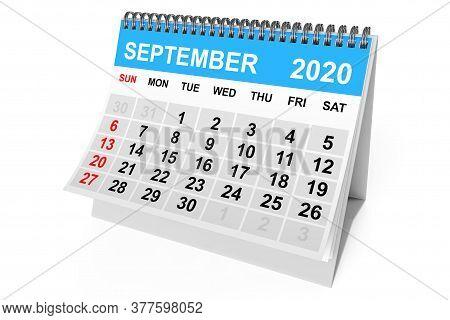 2020 Year September Calendar On A White Background. 3d Rendering