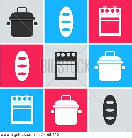 Set Cooking Pot, Bread Loaf And Oven Icon. Vector