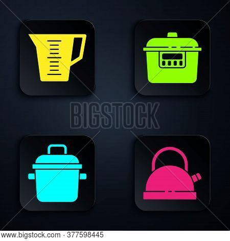 Set Kettle With Handle, Measuring Cup, Cooking Pot And Slow Cooker. Black Square Button. Vector