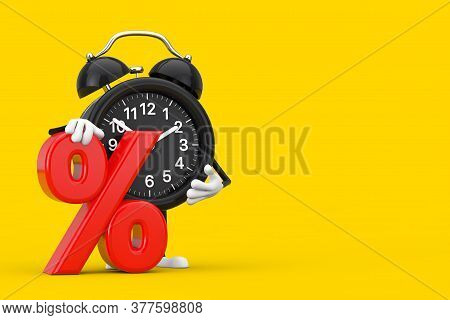 Alarm Clock Character Mascot With Red Retail Percent Sale Or Discount Sign On A Yellow Background. 3
