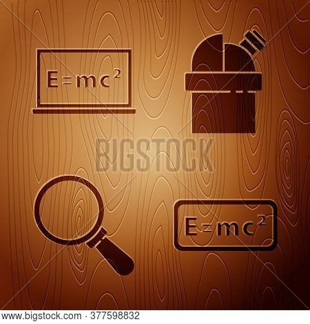 Set Equation Solution, Equation Solution, Magnifying Glass And Astronomical Observatory On Wooden Ba