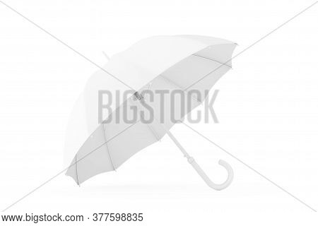 White Mockup Umbrella In Clay Style On A White Background. 3d Rendering