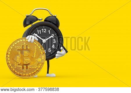 Alarm Clock Character Mascot With Digital And Cryptocurrency Golden Bitcoin Coin On A Yellow Backgro